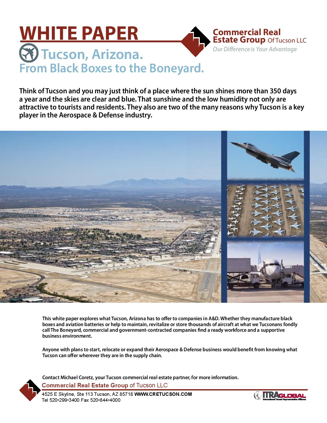 2014 Aerospace & Defence Industrial Market White Paper for Commercial Real Estate Group of Tucson Arizona by Michael Coretz (IMG)