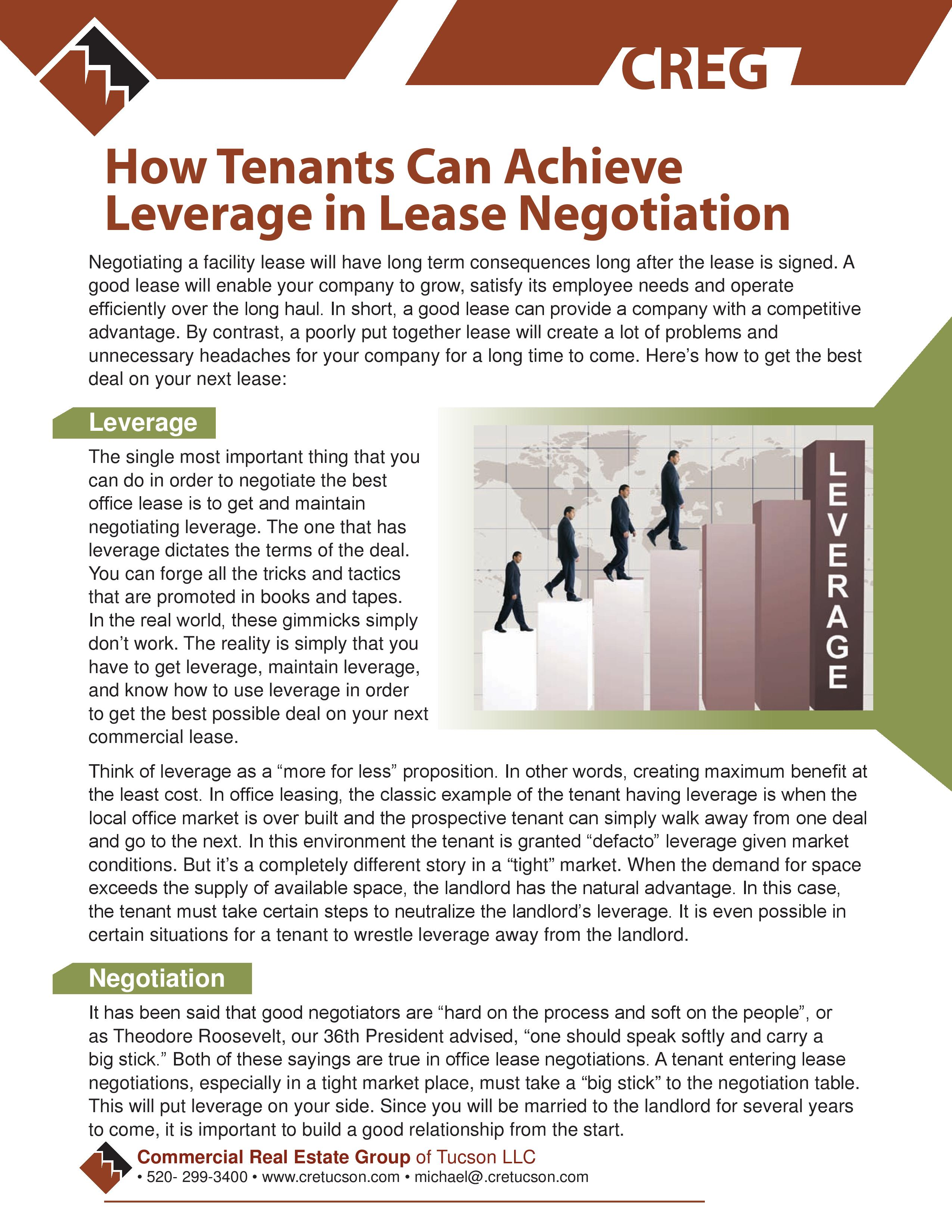 Tenants Leverage - CRETucson Tips