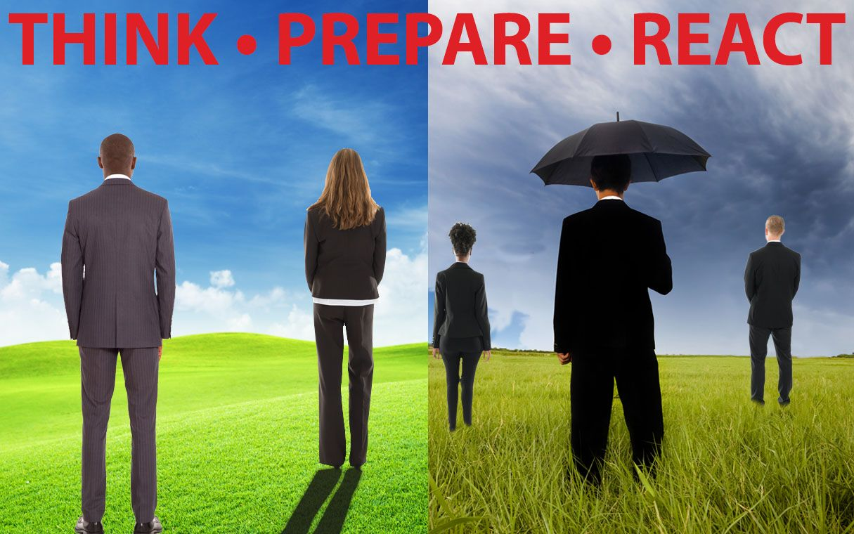 Illustration shows business owners in two settings: a sunny day and a rainy day.