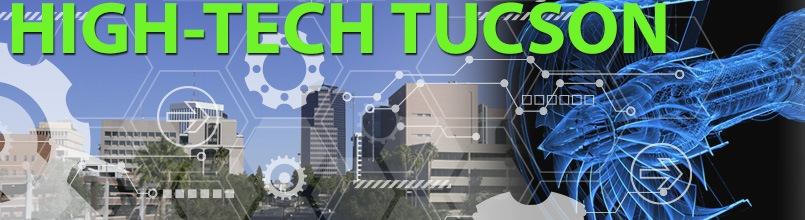 Engineering blueprint and Tucson skyline make up an illustration titled High-Tech Tucson.