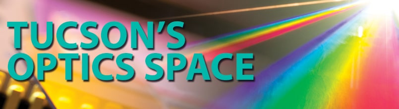 A picture of a colorful prism of light shining onto optics components is titled Tucson's Optics Space.