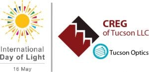 Logos for International Day of Light and Tucson Optics at Commercial Real Estate Group of Tucson