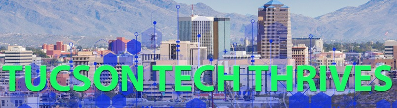 Tucson skyline behind an illustration of tech icons and the words Tucson Tech Thrives.