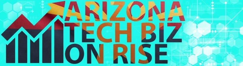 "An arrow points up and the words ""Arizona Tech Biz on Rise"" in an illustration on business- friendly rankings driven by Arizona tech jobs."